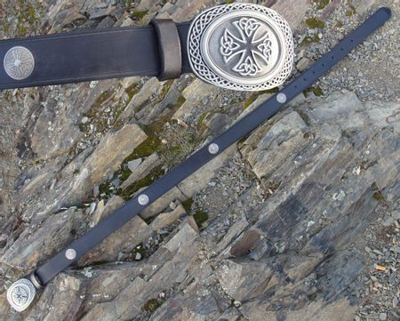 LEATHER BELT WITH THE CELTIC CROSS AND CONCHOS
