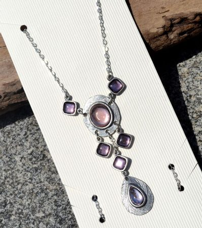 FLAVIA, necklace, purple glass