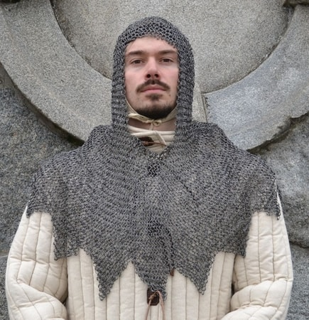 Riveted Chainmail Coif, ZigZag, 8 mm