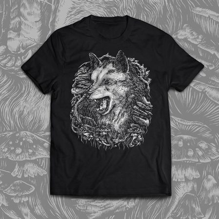 WOLF, men's T-shirt black, Druid collection