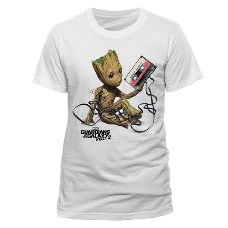 GUARDIANS OF THE GALAXY VOL 2 - GROOT AND TAPE, UNISEX T-SHIRT - WHITE