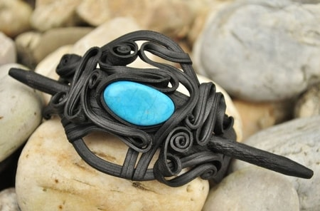 HAIR BROOCH WITH Turquoise