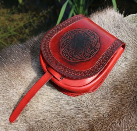 VENDEL, VIKING LEATHER BAG, RED