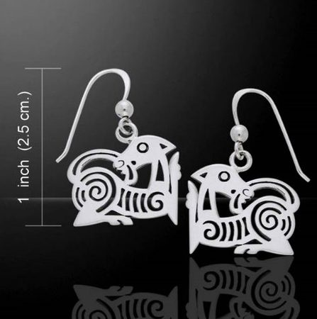 VIKING BEASTS, borre style earrings, silver 925