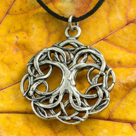 CELTIC TREE OF LIFE, knotted, tin pendant