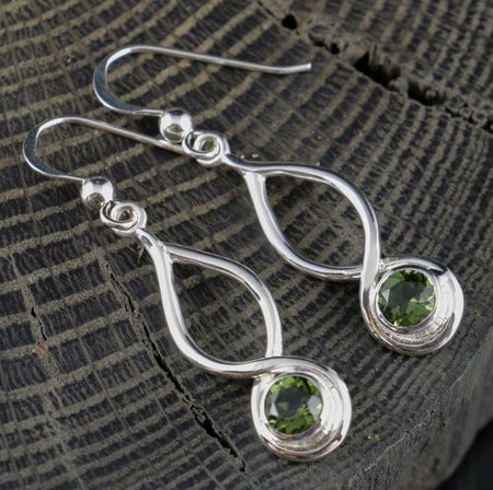 BLAINE, earrings, faceted Moldavite, silver