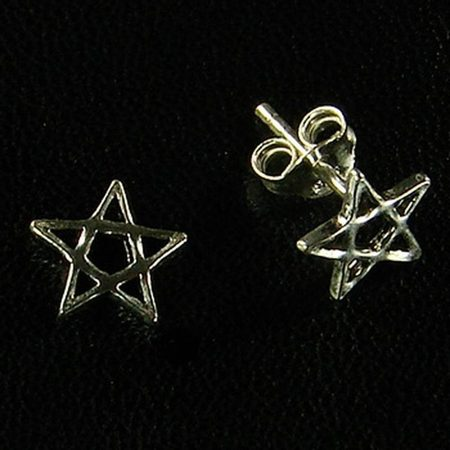 PENTACLE, Stud Earrings, Silver