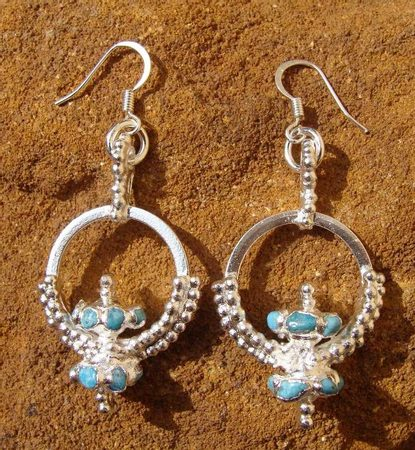 SLAVIC EARRINGS WITH GEMS, silver plated