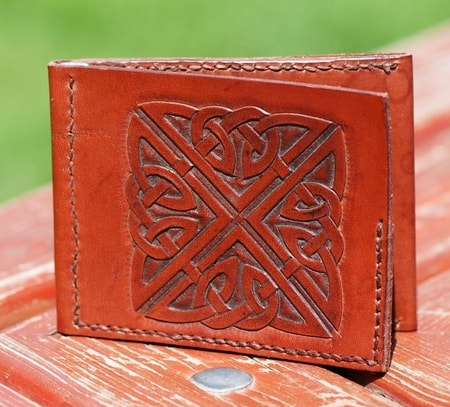 Brown wallet with hand carved celtic knot wulflund