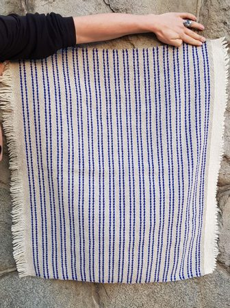 SMALL WOOLLEN THROW, Blue Stripes