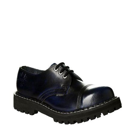 Leather boots STEEL blue 3-eyelet-shoes