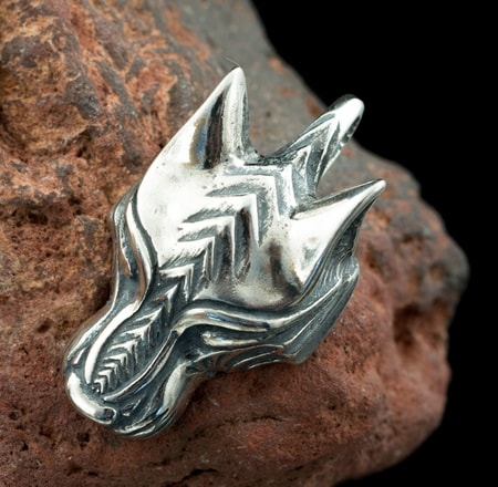 WARG, NORSE WOLF, VIKING PENDANT, STERLING SILVER