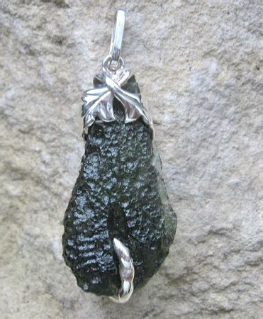 QUERCUS, raw moldavite pendant, sterling silver