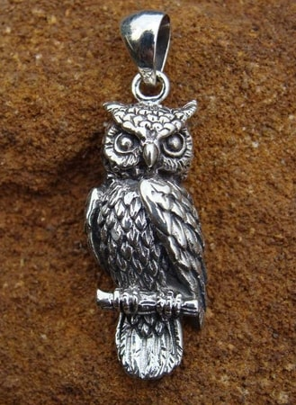 SILVER OWL, animal pendant