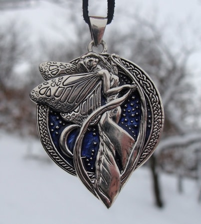 MIDNIGHT FAIRY, silver pendant