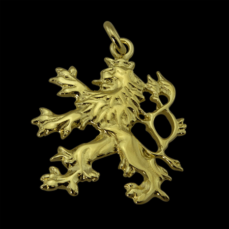 CZECH DOUBLE TAILED LION, PENDANT, 14K GOLD, 8.3 G