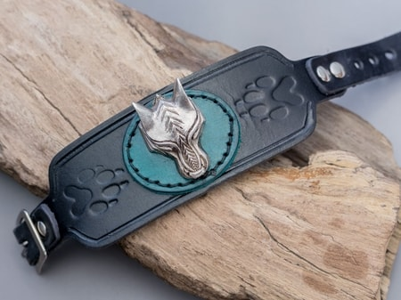 Viking Wolf Leather Bracelet