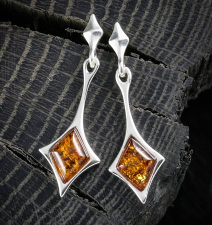 JASNA, amber, earrings, sterling silver