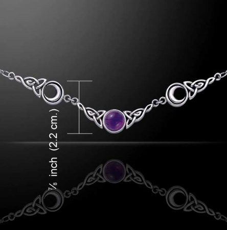MOON PHASES, silver necklace with amethyst Ag 925