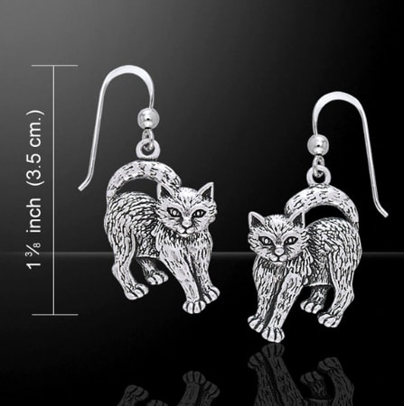 WITCH CATS, silver earrings