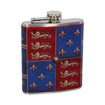 MEDIEVAL ENGLISH EDWARDIAN HERALDRY HIP FLASK 7OZ