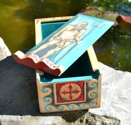 NEPTUNUS, Ancient Rome Wooden Box, replica