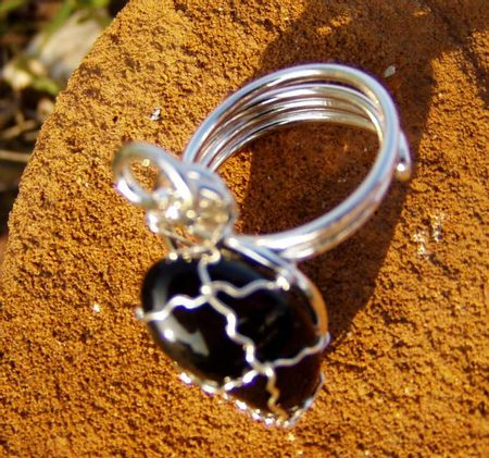 Silvered Adjustable Onyx Ring