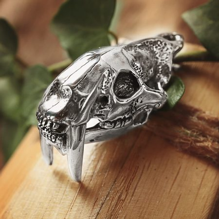 SMILODON, SABERTOOTH TIGER SKULL PENDANT, MASSIVE SILVER JEWEL, AG 925