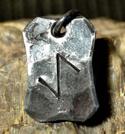 IHWAZ, forged iron rune pendant