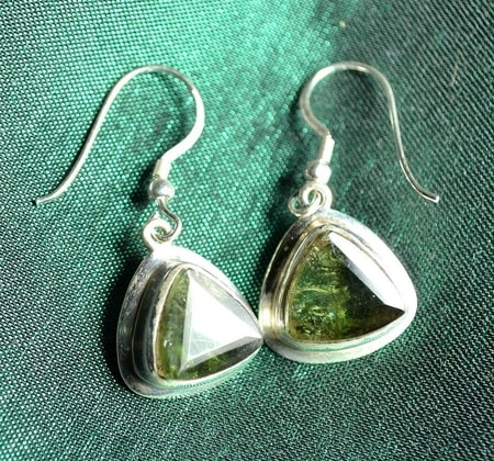 MOLDAVITE, silver earrings with cut moldavites