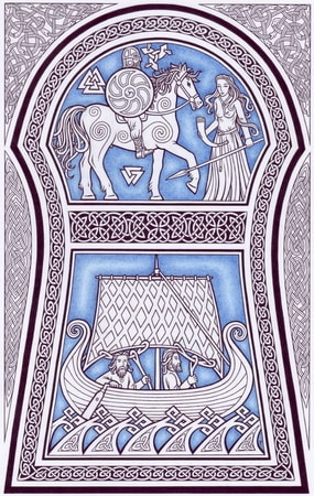 Runestone from Gotland, pagan poster
