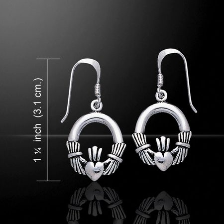 Claddagh Irish Earrings, heart, silver