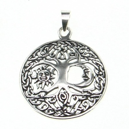 SUN and MOON in LIVING TREE, silver pendant