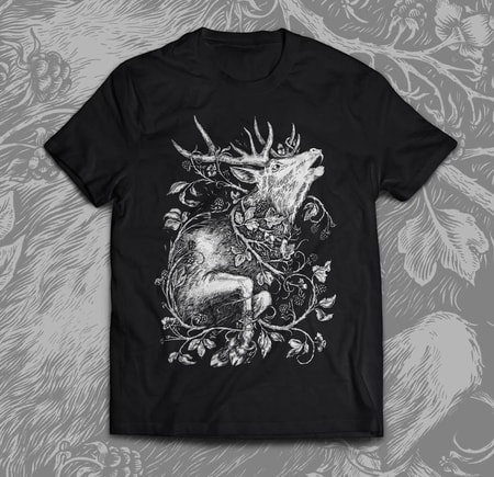 DEER, men's T-shirt black, Druid collection