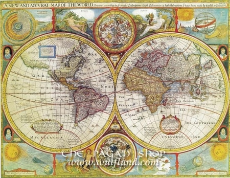 A NEW AND ACCURAT MAP OF THE WORLD 1626, historical map, replica