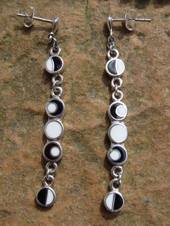 PHASES OF THE MOON, silver earrings