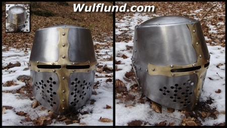 FRENCH CRUSADER HELMET - brass