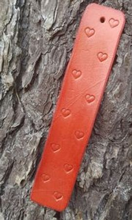 Leather Bookmark with Hearts, brown