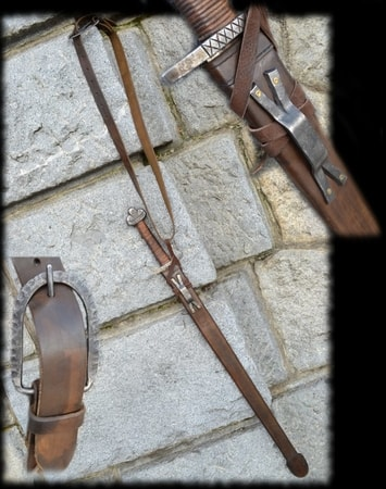 LEATHER SCABBARD with shoulder belt for early medieval sword
