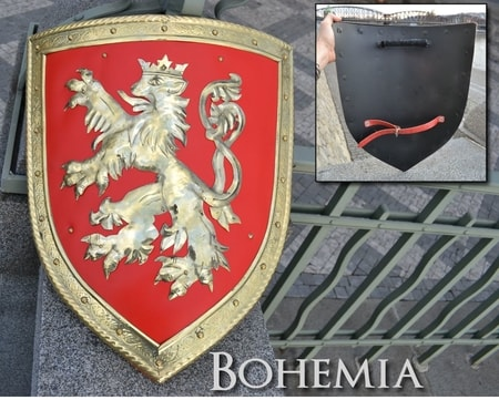 BOHEMIAN COAT OF ARMS, BRASS AND LEATHER, SHIELD