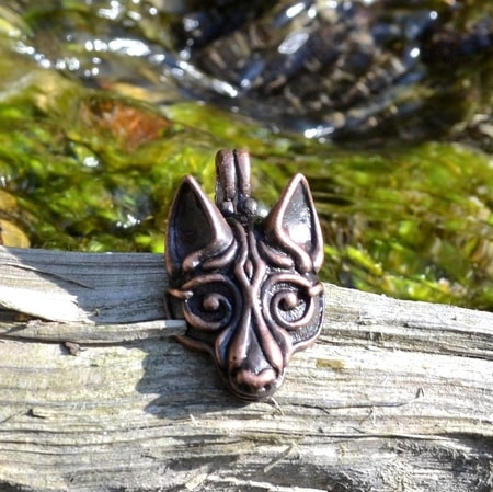 FENRIR, tin viking pendant, coppered
