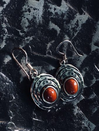 FLANN, sterling silver earrings with jasper
