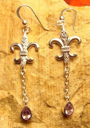 FLEUR DE LIS, silver earrings with amethyst