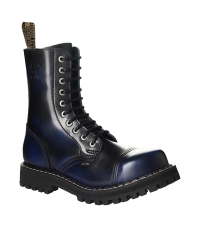 LEATHER BOOTS STEEL BLUE 10-EYELET-SHOES