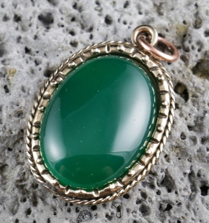 AGATE - green, large, bronze, pendant