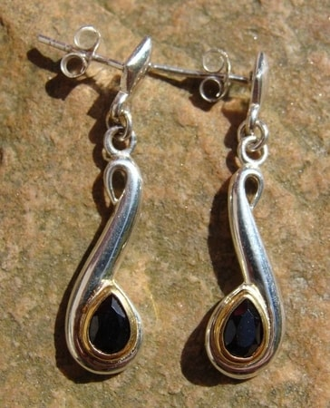 VOLUTES, silver earrings with black spinel, Ag 925