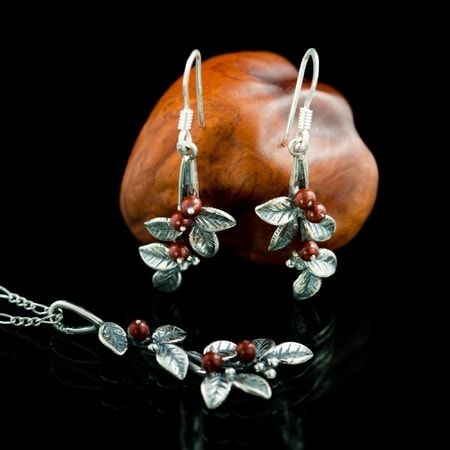 Cranberries, jewellery set, silver