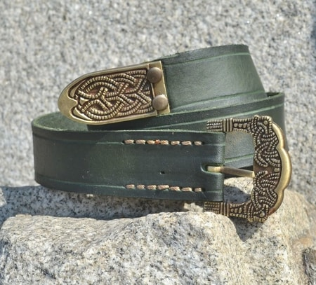 viking belt  gokstad  tin  green leather