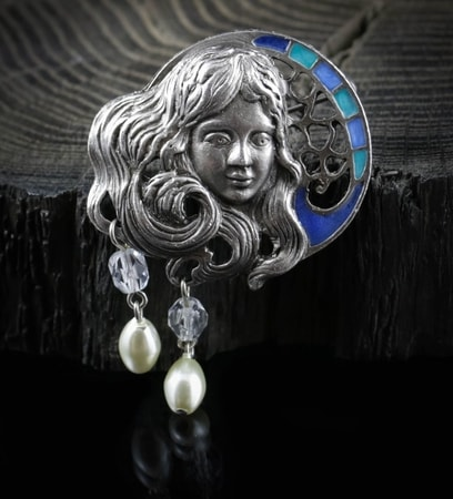 NIGHT FAIRY, Art Nouveau, costume brooch