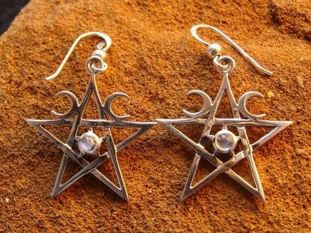 RAINBOW MOONSTONE PENTACLES, earrings - ET-2875